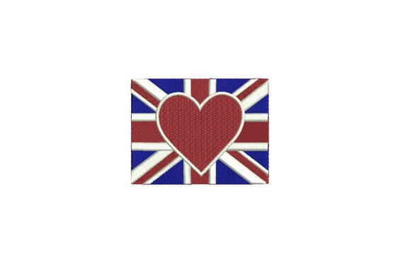 Union Jack Flag Heart 9.5cm - Machine Embroidery File design 4 x 4 inch hoop - Instant download