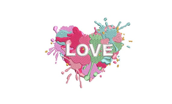 Love Paint Embroidery - Machine Embroidery File design -  4x4 inch hoop - 10cm hoop
