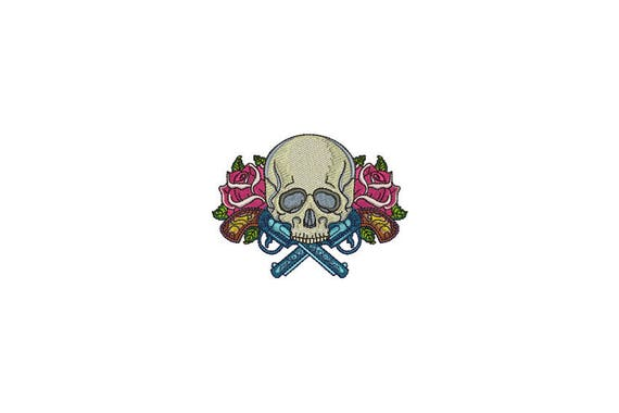 Skull Embroidery - Boho Gypsy Skull Guns Roses Bohemian Machine Embroidery File design 4x4 inch hoop