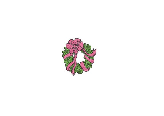Mini Simple Bow Wreath Christmas Embroidery - Machine Embroidery File design - 4x4 inch hoop - Christmas Embroidery Design