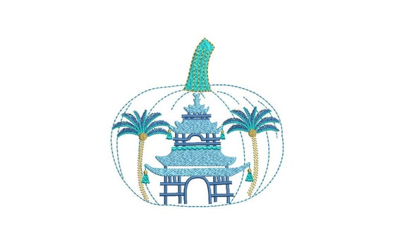 Chinoiserie Chic Pagoda - Pumpkin Machine Embroidery design - 5x7 hoop - instant download
