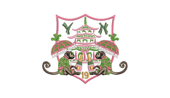 Chinoiserie Chic Machine Embroidery Design  - Monkey Pagoda Parasol Champagne Crest - 5x7 hoop - sideways