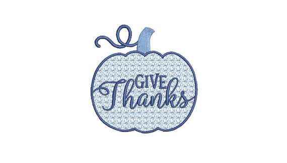 Give Thanks Pumpkin - Greek Key Pumpkin - Machine Embroidery design - 4x4 inch hoop - instant download