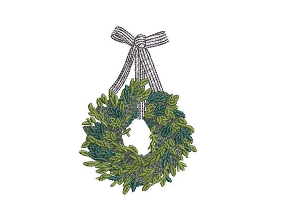 Ribbon Wreath Embroidery - Machine Embroidery File - design 4x4 inch hoop - Monogram frame