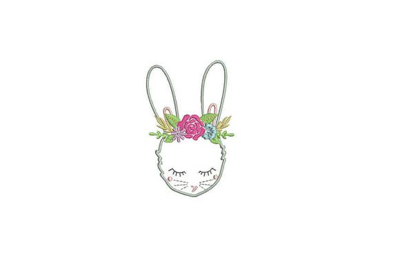 Machine Embroidery Whimsical Vintage Bunny with Flower Crown Embroidery File design 4x4 inch hoop