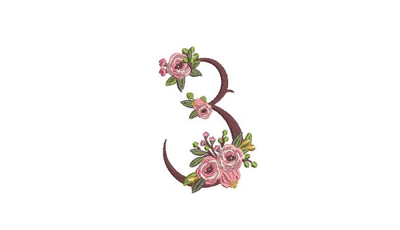 Floral Number 3 - THREE - Third Birthday-  Machine Embroidery File design - 4x4 hoop - embroidery design