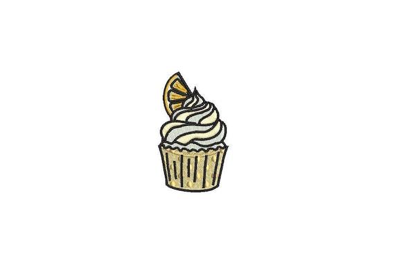 Cupcake Embroidery - Lemon Cupcake Machine Embroidery File design 4x4 inch hoop - Mini Cupcake