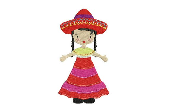 Mexican Folksy Girl Machine Embroidery File design 5 x 7 inch hoop - instant download