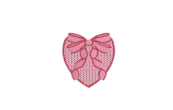 Heart Bow Machine Embroidery File design - 3 x 3  inch hoop - Mini Embroidery Design