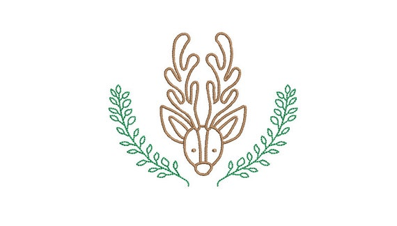 Reindeer Laurel Machine Embroidery File design - 4x4 inch hoop - Christmas Monogram Frame