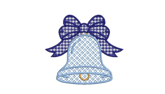Bell Christmas Embroidery - Machine Embroidery File design - 4 x 4  inch hoop - Christmas Embroidery Design