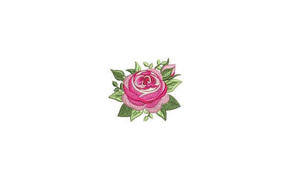 Rose Embroidery -English Rose Machine Embroidery File design 6cm - 4 x 4 inch hoop - Rosette - Rose Silhouette