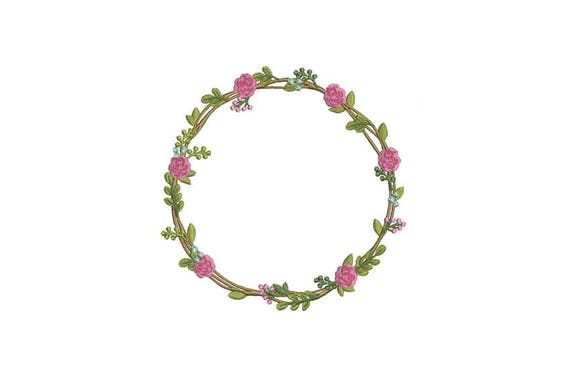 Rose & Flower Wreath Machine Embroidery File design 5x7 inch hoop