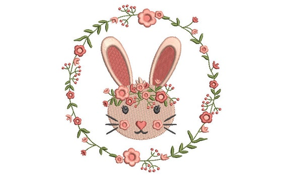 Peach Bunny Wreath  - Machine Embroidery File design 5 x 7 inch hoop - Easter Embroidery Design
