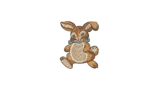 Vintage Brown Bunny Machine Embroidery File design  - 4 x 4 inch hoop - Easter Bunny Embroidery Design