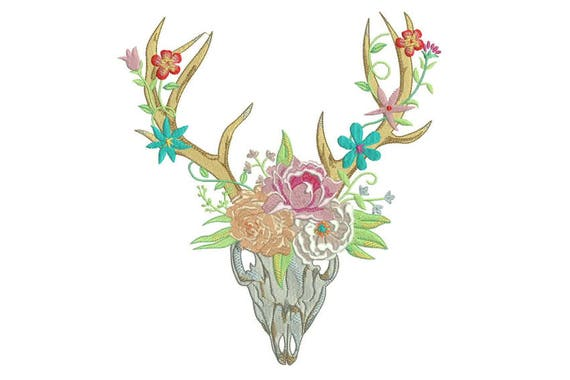 Boho Flower Crown Skull Bohemian Machine Embroidery File design 20x 30cm 8x12 inch hoop