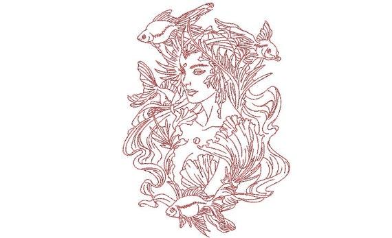 Mermaid Machine Embroidery Design - 8x12 inch hoop -  instant download - Redwork Mermaid