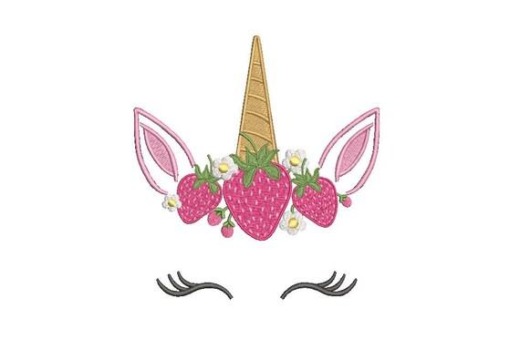 Strawberry Unicorn Embroidery design - Machine Embroidery Unicorn Face Machine Embroidery File design - 5x7 inch hoop
