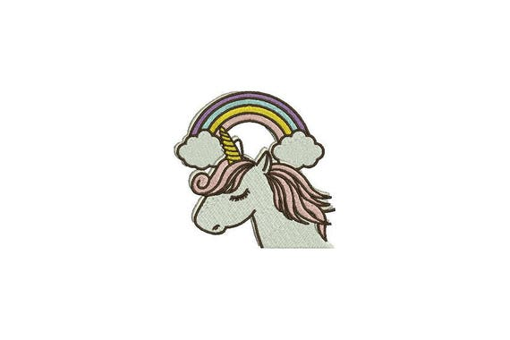 Unicorn Embroidery Design  - Whimsical Unicorn Rainbow Machine Embroidery - File design 4x4 inch hoop - instant download