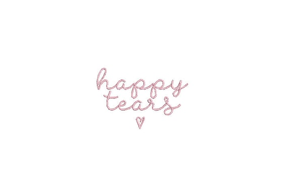 Happy Tears Embroidery File design - 4 x 4 inch hoop  - instant download - Wedding Embroidery Design