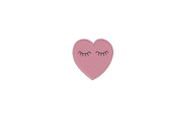 Heart Eyes Machine Embroidery File design 4 x 4 inch hoop - Loveheart