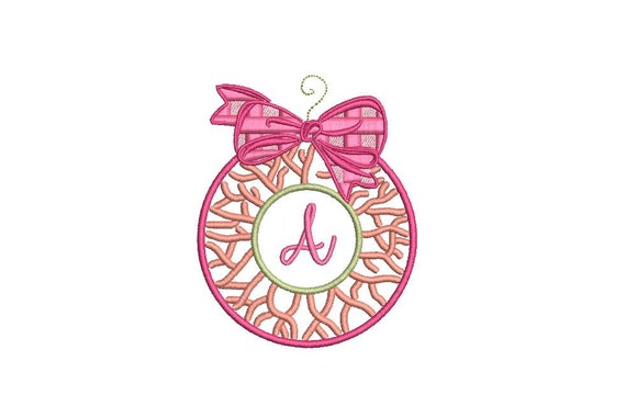Christmas Coral Plaid Bow Ornament - Machine Embroidery File design - 4x4 inch hoop - Chinoiserie Chic
