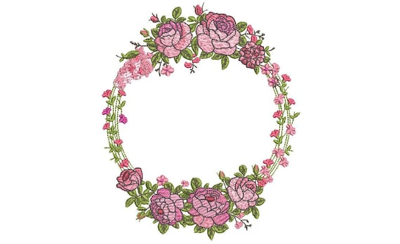 Pink Green Floral - Wreath Machine Embroidery File design 5x7 inch hoop - monogram frame - instant download