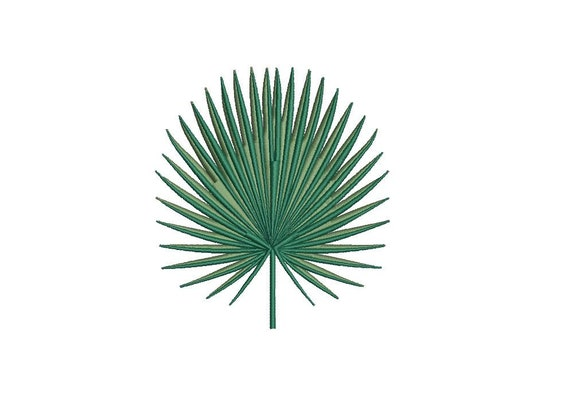Fan Palm Leaf - Machine Embroidery File design - 4 x 4 inch hoop - Palm Silhouette