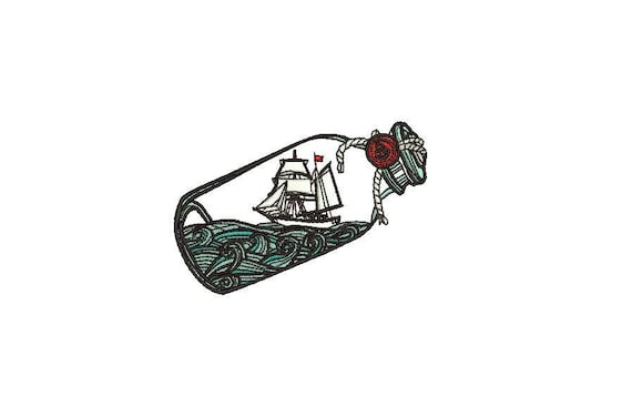 Nautical Ship in a Bottle Machine Embroidery File design 4x4 inch hoop - Silhouette Boat Sail Boat