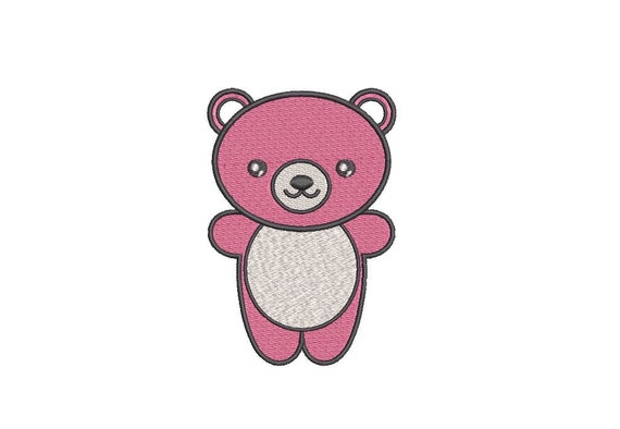 Kawaii Bear embroidery - Machine Embroidery File design - 4x4 inch hoop - Instant download