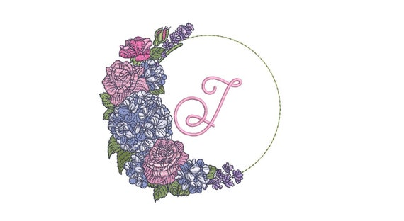 Hydrangea Rose Monogram Frame - Machine Embroidery File design - 5x7 inch hoop - Monogram Frame