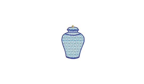 Greek Key Embroidery Jar - Filled Machine Embroidery File design  - 4x4 hoop - Mini Embroidery Design