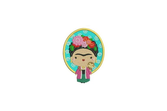 Mexican Girl and Monkey Machine Embroidery File design 4x4 inch hoop Embroidery Patch