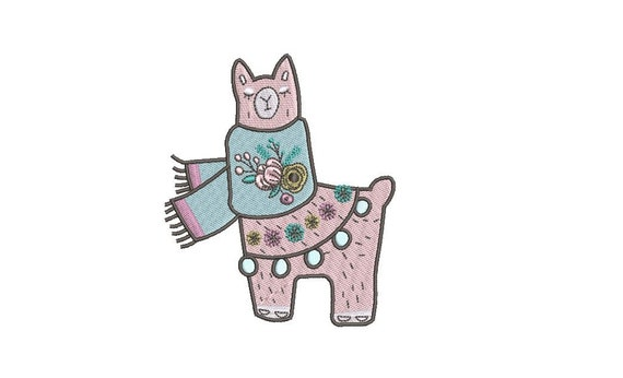 Pretty Llama Machine Embroidery - File design - 4x4 inch hoop - instant download