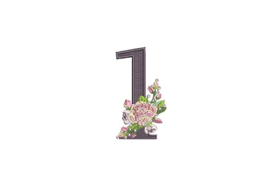 Number 1 - ONE - Bouquet - First Birthday-  Machine Embroidery File design - 4x4 hoop - embroidery design