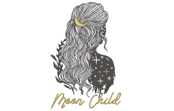 Moon Child Boho Girl Machine Embroidery File design 5 x 7 inch hoop - instant download