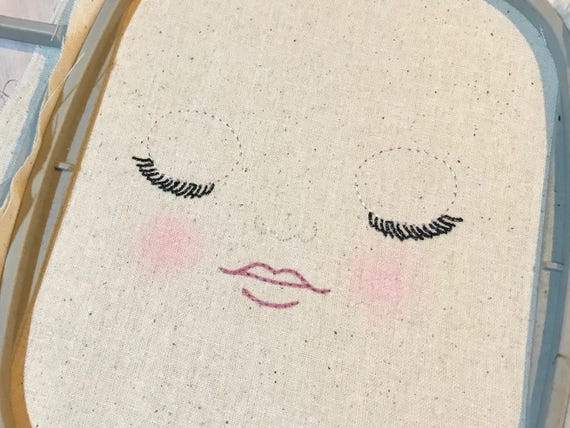 ITH In The Hoop Handmade look Sleeping Doll Face Machine Embroidery File design 4x4 dolly face embroidery