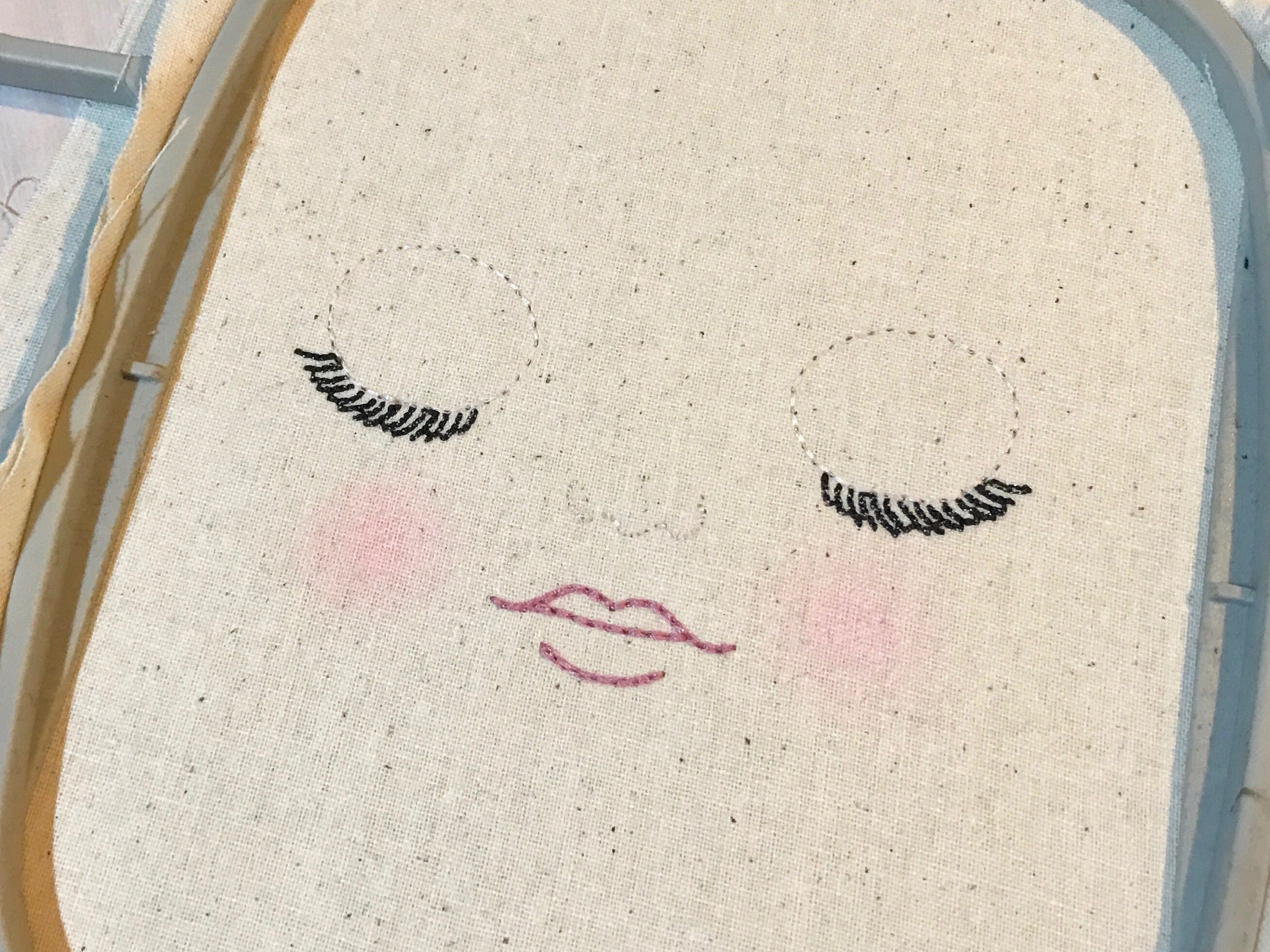 Ith In The Hoop Handmade Look Sleeping Doll Face Machine Embroidery