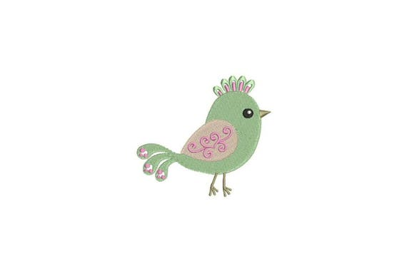 Bird Machine Embroidery File design 4 x 4 inch hoop Flowers - instant download