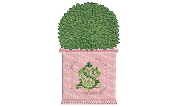 Boxwood Embroidery Design - Hamptons Pot Plant - Machine Embroidery File design - 5x7 inch hoop - Instant Download