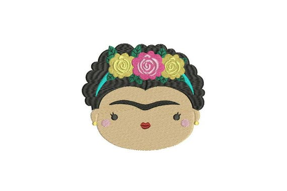 Mexican Girl Face Machine Embroidery File design - 5x7 hoop - Embroidery Patch Design