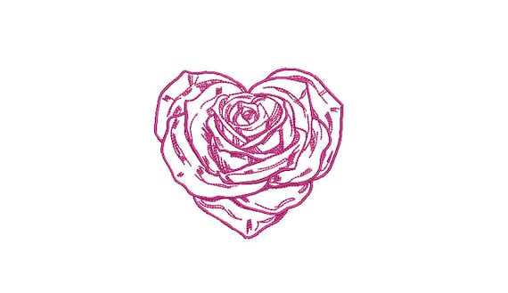 Rose Heart Machine Embroidery File design - 4 x 4 inch hoop - Love Embroidery Design
