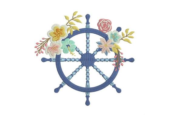 Bohemian Ship Wheel Flowers Machine Embroidery File design 8x12 inch hoop