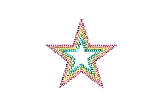 Chain Stitch Star - Machine Embroidery File design - 4x4 inch hoop - Monogram Frame - Five Row Chainstitch