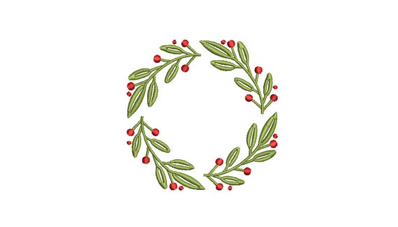 Christmas Embroidery Design - Holly Wreath - Machine Embroidery File - design 4x4 inch hoop - Monogram frame