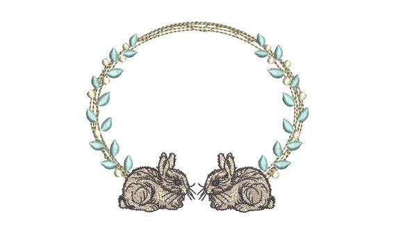 Bunny Monogram Frame  - Machine Embroidery File design 5 x 7 inch hoop - Easter Embroidery Design