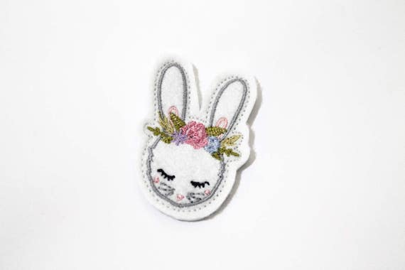 ITH Vintage Bunny With Flower Crown with Bow Machine Embroidery File design 4 x 4 inch hoop In The Hoop bunny feltie