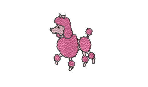 Machine Embroidery Pink Poodle Machine Embroidery File design 4x4 inch hoop - Embroidery