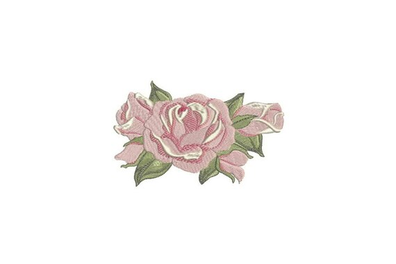English Roses Machine Embroidery File design - 5 x 7 inch hoop - Rosette - Rose Silhouette