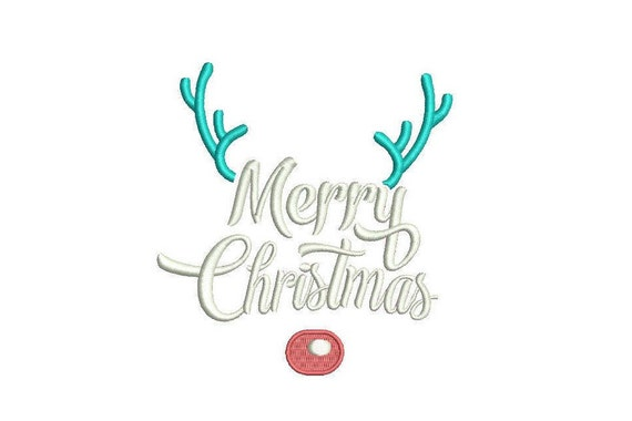 Merry Christmas Embroidery - Rudolph Reindeer Deer Silhouette Machine Embroidery File design 5x7 inch hoop